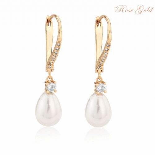 Vintage style pearl drop wedding earrings